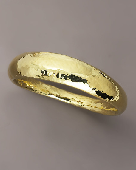 Glamazon Hammered 18K Gold FettucineBangle