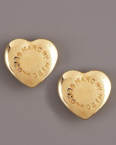 Domed Heart Logo Stud Earrings