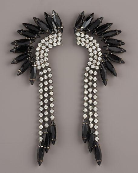 Black Crystal Mohawk Earrings
