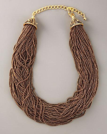 Multi-Strand Bead Necklace, Bronze