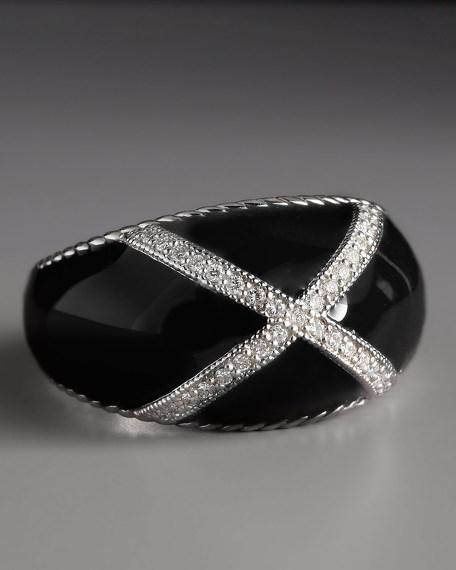 Diamond Enamel Ring, Black