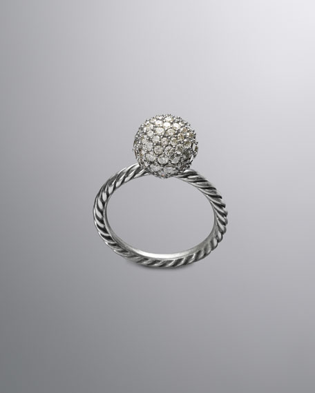 DY Elements Stack Ring, Pave Diamond, 10mm