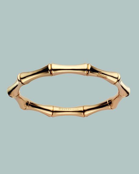 Yellow Gold Bamboo Bangle Bracelet