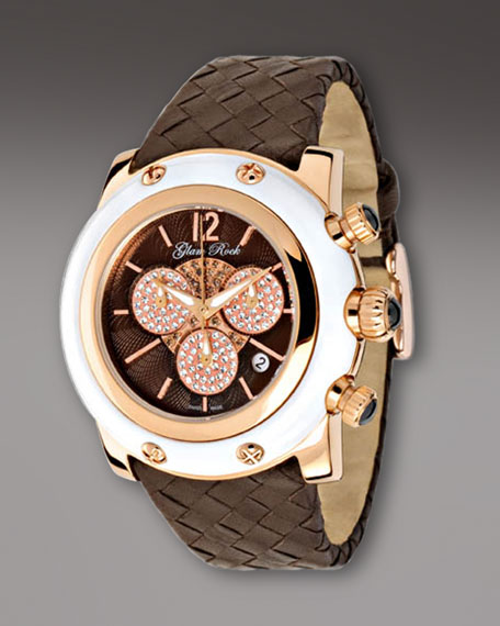 46mm Miami Jeweled Chronograph Watch, White Brown