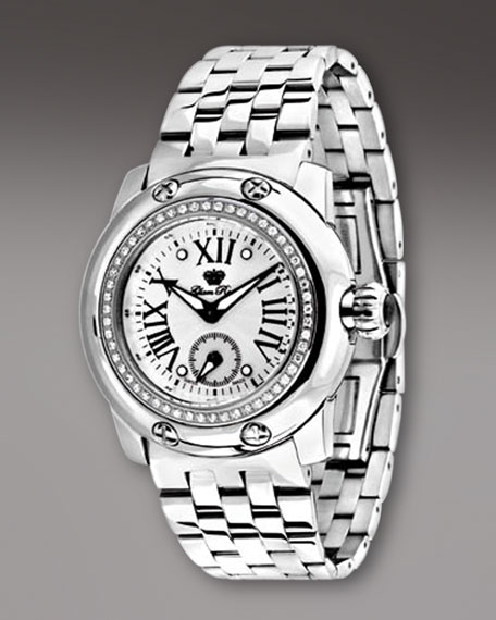Diamond-Bezel Bracelet Watch