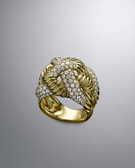 Woven Cable Ring, Pave Diamond, 17mm