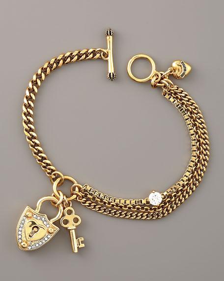 Pave Shield Key Bracelet