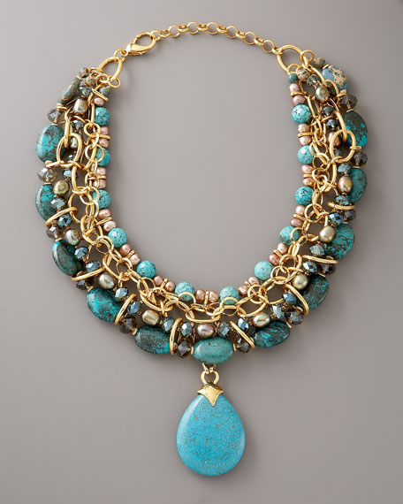 Turquoise & Pearl Chain Necklace