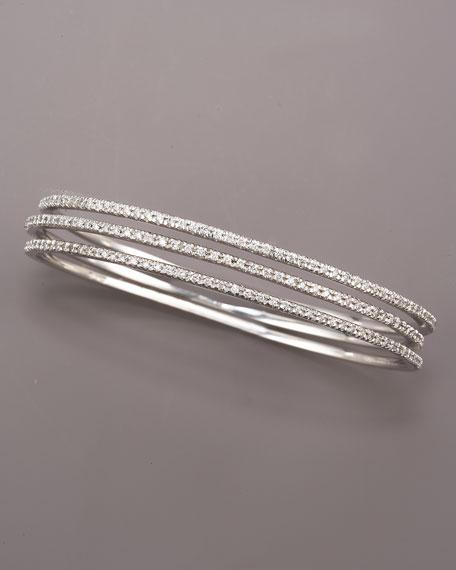 Diamond Slip-On Bangle, 14k White Gold