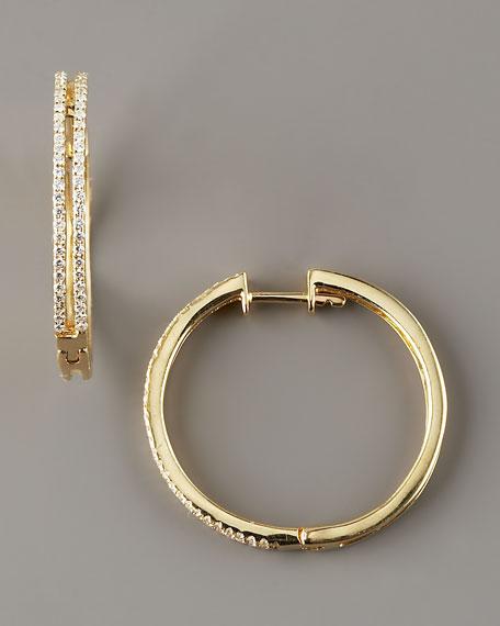 Diamond Hoop Earrings, 14k Yellow Gold