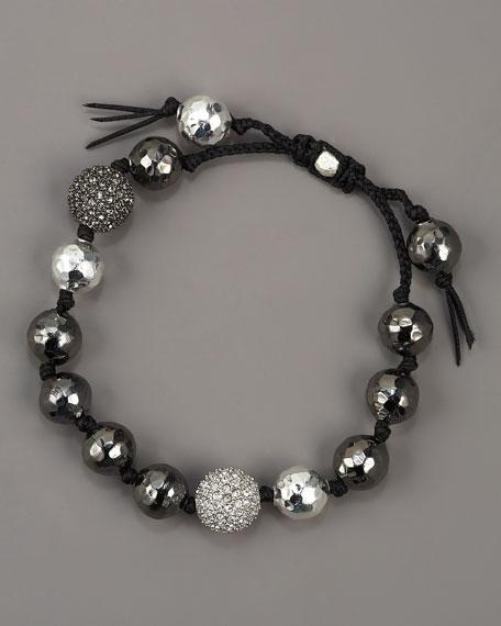 Beaded Tie Bracelet, Silver