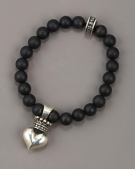 Heart Charm Bead Bracelet