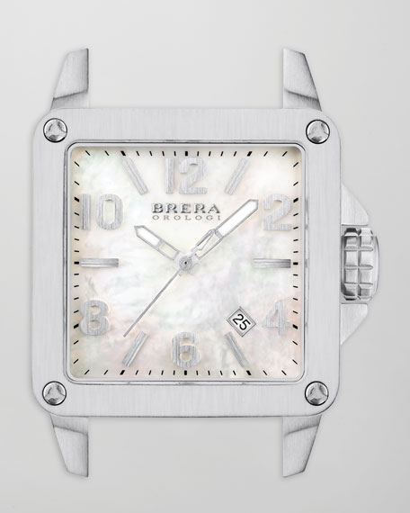 Stella Brushed Stainless Steel Watch Head with Mother of Pearl Dial