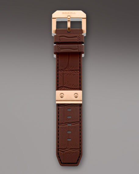 Brown Croc Embossed Rubber Strap, 22mm