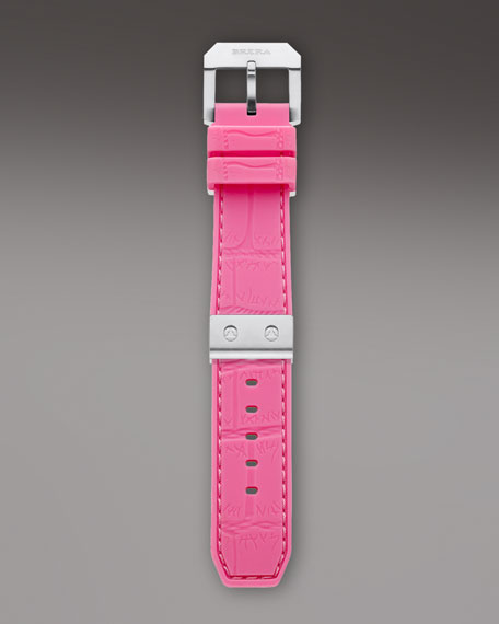 Pink Silver Rubber Strap, 22mm