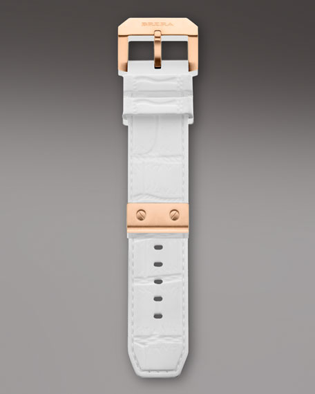 White Croc Pattern Embossed Rubber Strap, 22mm
