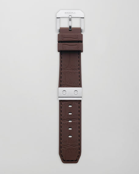Brown Silver Rubber Strap, 22mm
