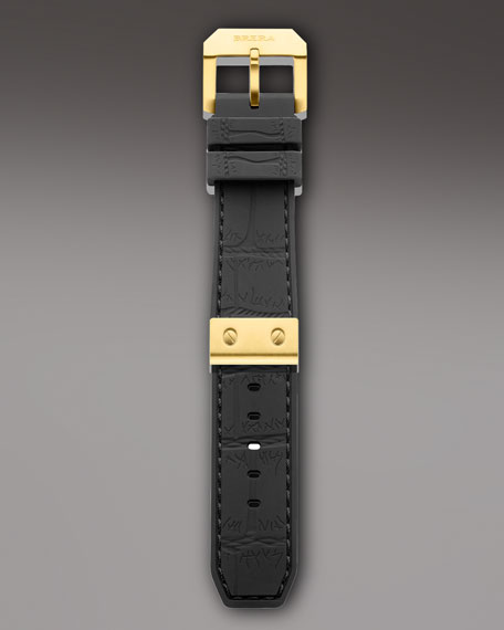 Black Yellow Golden Rubber Strap, 22mm