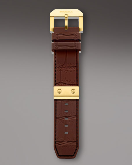 Yellow Golden Brown Rubber Strap, 24mm