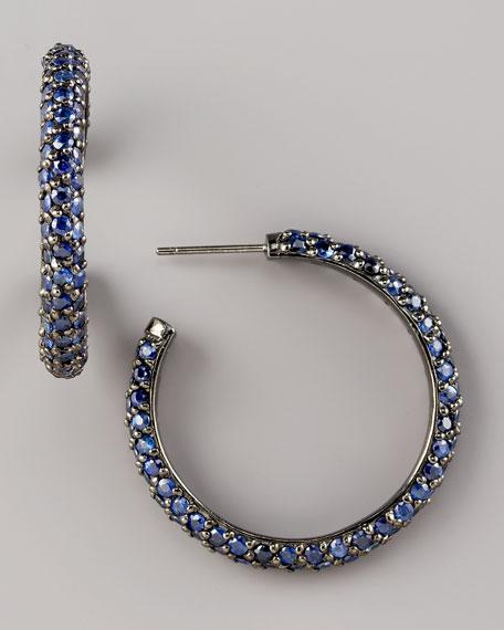 Pave Sapphire Hoop Earrings, Small