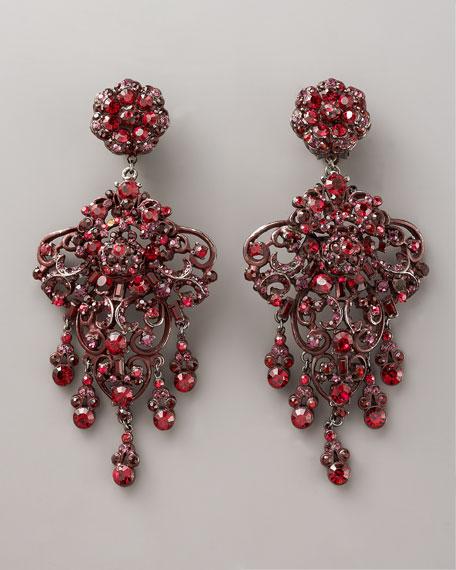 Red & Purple Chandelier Earrings