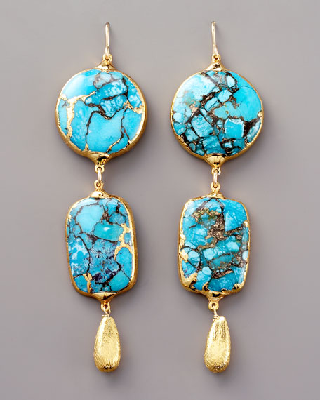 Double-Drop Turquoise Earrings