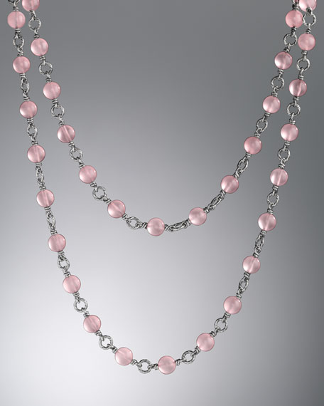 "Bijoux Necklace, Pink Chalcedony, 40"""