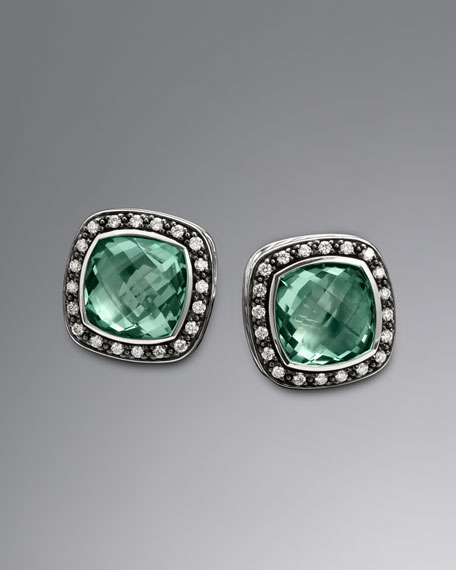 11mm Prasiolite Moonlight Ice Earrings