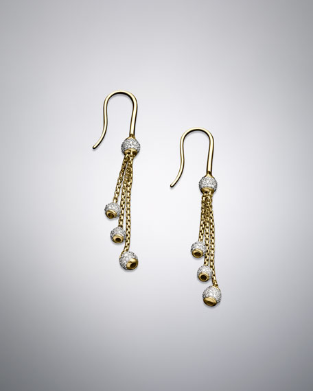 Petite Pave Bead Three-Drop Earrings