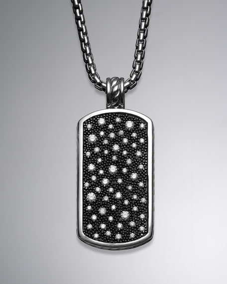 Midnight Mélange Large Tag with Diamonds on Chain