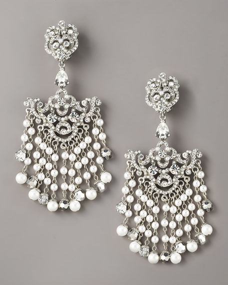 Glass-Pearl & Crystal Chandelier Earrings