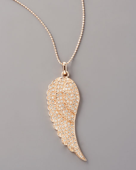 Diamond Feather Necklace, Rose Gold