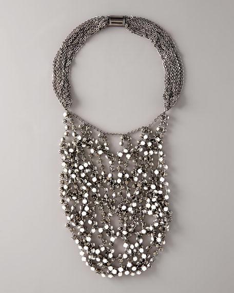Wrapped Rhinestone Necklace, White