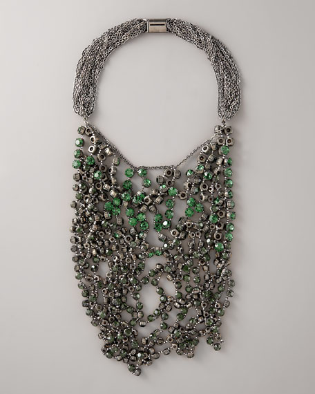 Wrapped Rhinestone Necklace, Green