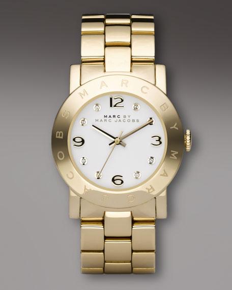 Golden Round-Face Watch