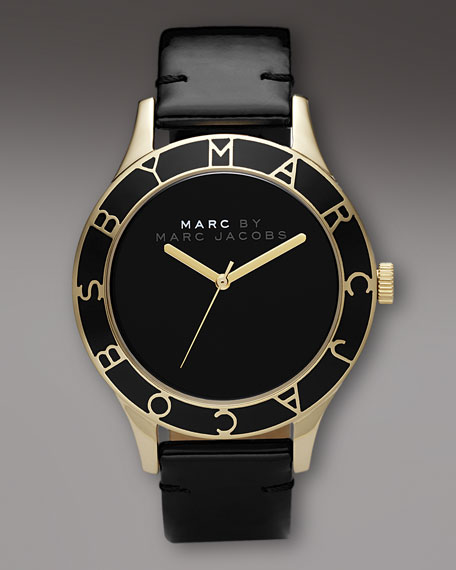 Black with Gold Logo Face Watch