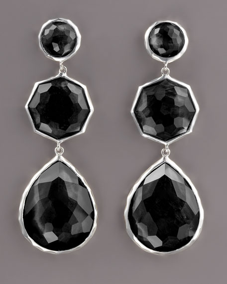 Triple-Drop Earrings, Onyx