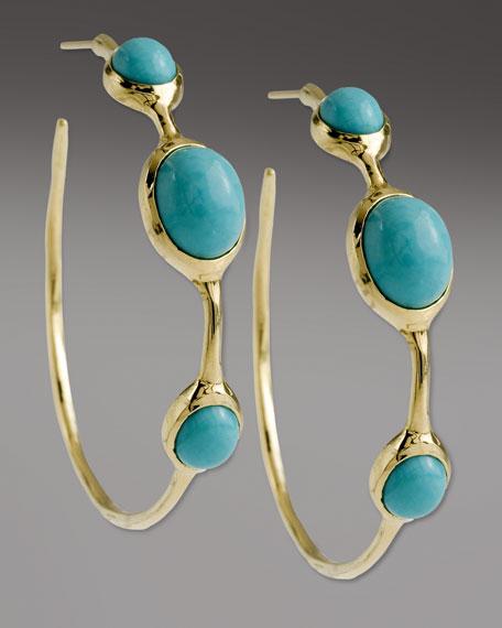 Turquoise 3-Stone Hoop Earrings