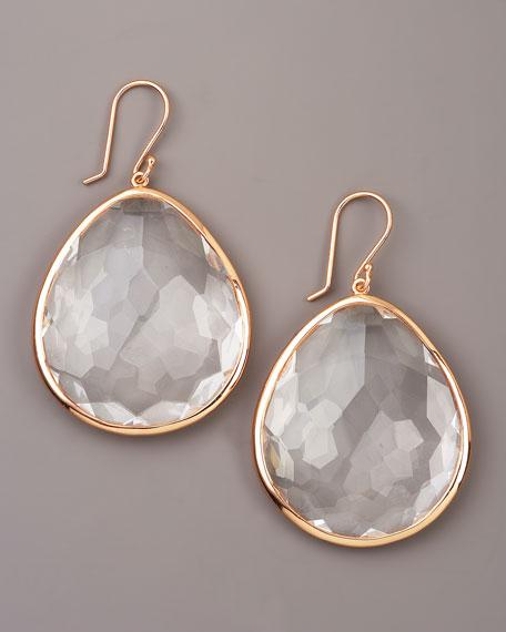 Rose Clear Quartz Teardrop Earrings