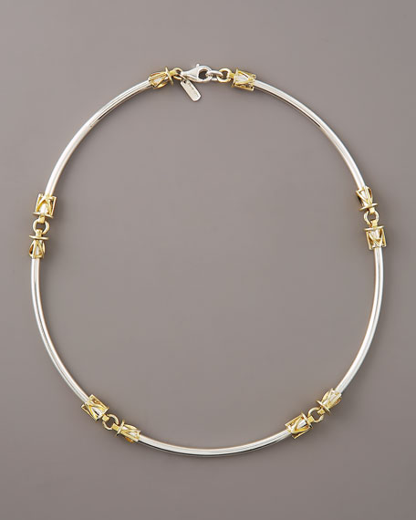 Two-Tone Tusk Link Necklace