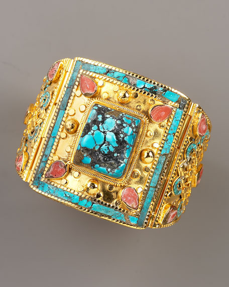 Turquoise & Coral Cuff