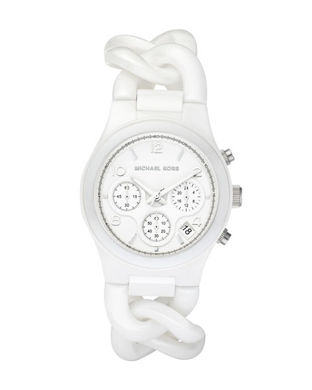Chain-Link Watch, White Ceramic