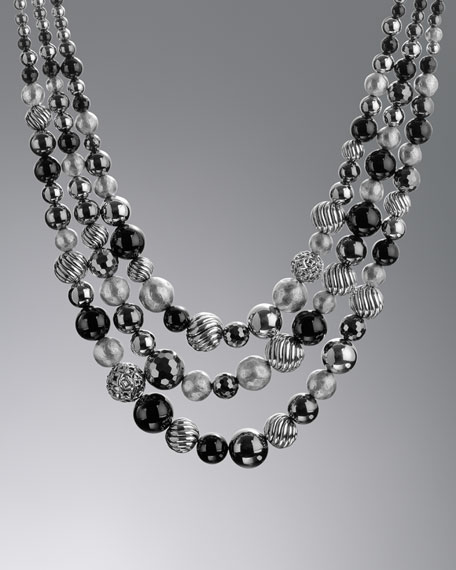 DY Elements Three-Row Necklace with Black Onyx and Hematite