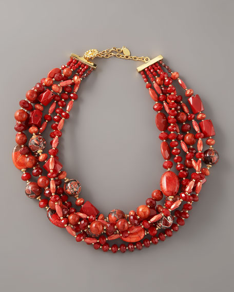 Twisted Coral Bead Necklace