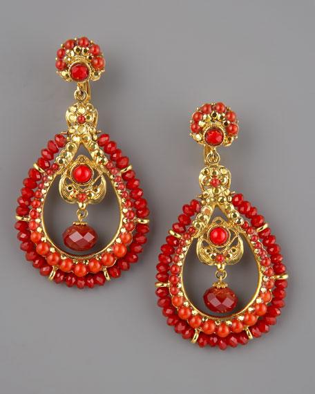 Coral & Crystal Earrings