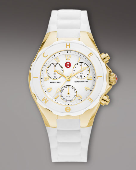 Tahitian Large Jelly Bean Chronograph, White/Golden