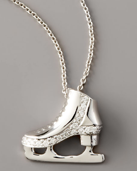 Diamond Wedge Ice Skate Necklace