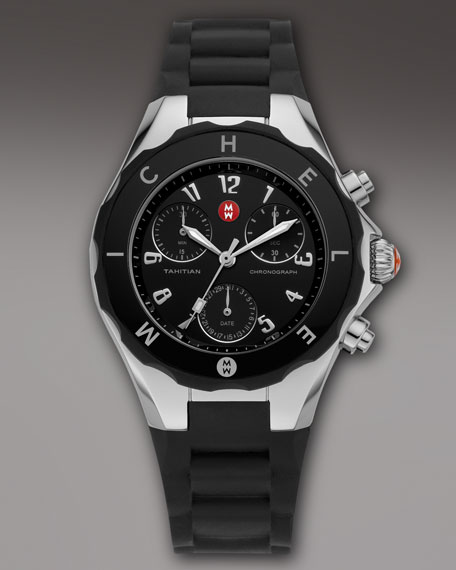Tahitian Large Jelly Bean Chronograph, Black/Steel