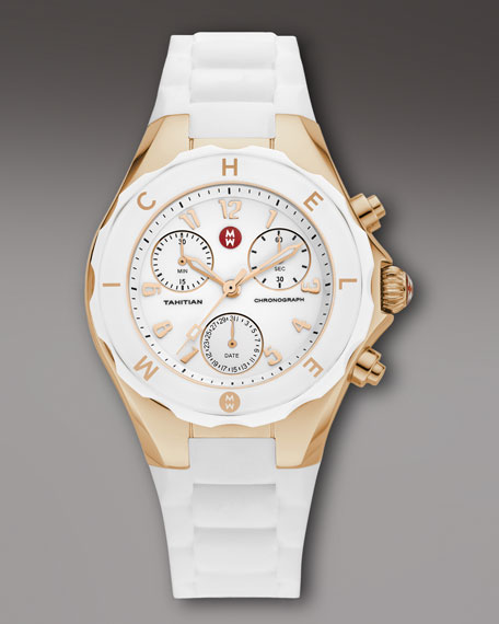 Tahitian Large Jelly Bean Chronograph, White/Rose