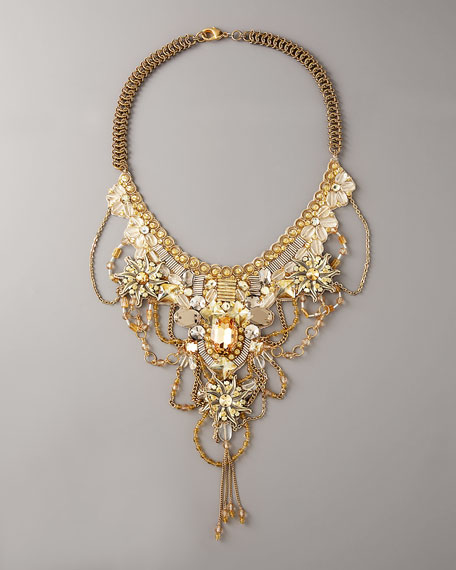 Stone & Crystal Bib Necklace